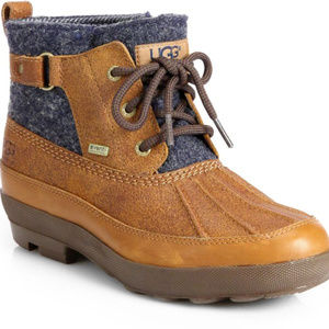 UGG women's Lina Chestnut/blue wool duck bootie 8